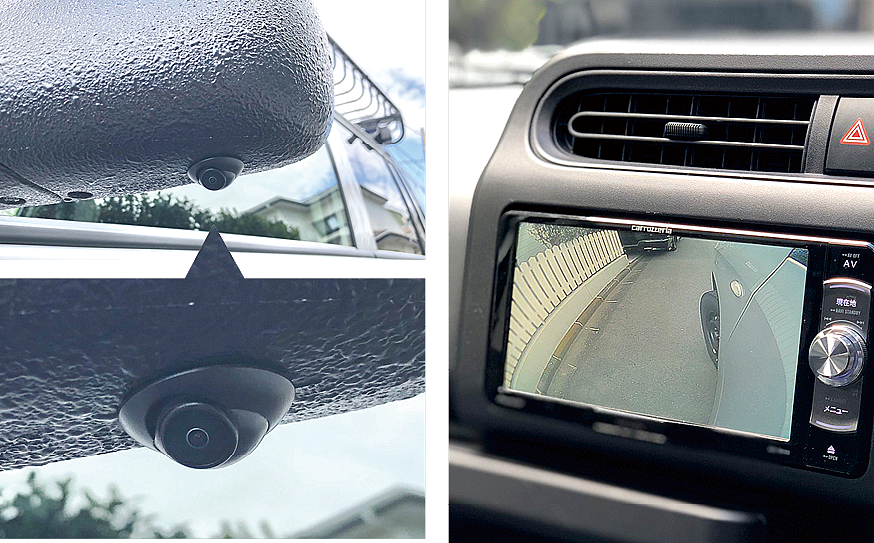 ブラインドカメラ  助手席側のブラインドを無くすためにカメラを装備。モニターは、ナビ共有モニター、室内バックミラーモニターから選択可能